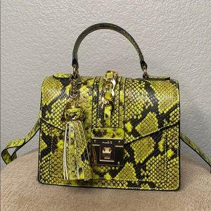 Aldo Neon Yellow Snake Print Bag